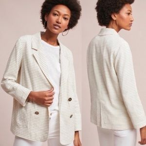 Anthropologie Long Striped Double Breasted Blazer